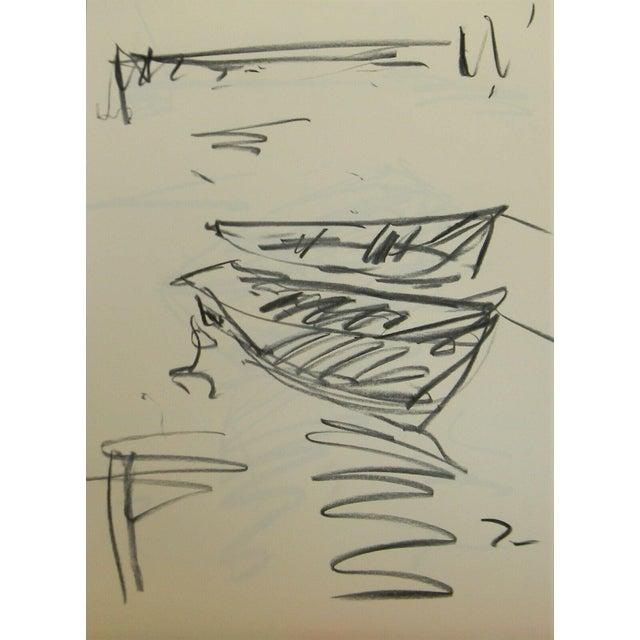 "Jose Trujillo Charcoal Paper Sketch Drawing - Boats Seascape Lake Fishing - 18x24"" For Sale"
