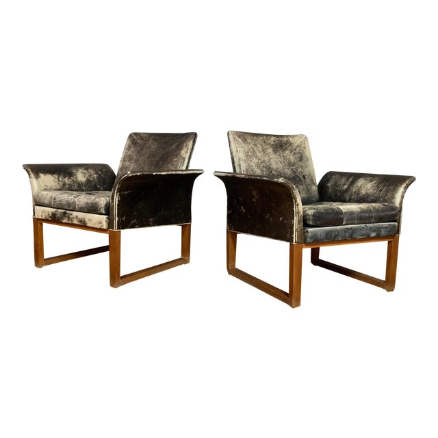 Pair of Danish 1960s Faded Black Leather Lounge Chairs For Sale