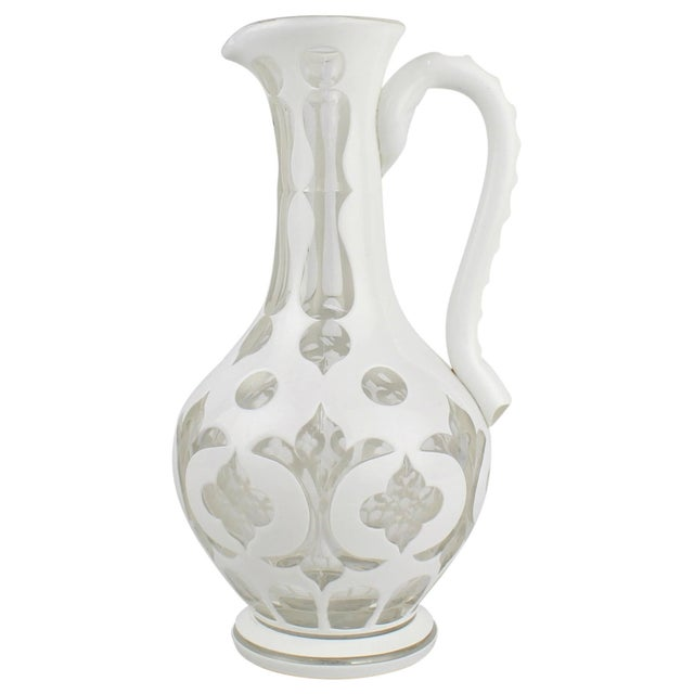 19th Century Bohemian White Cut to Clear Overlay Glass Pitcher or Ewer For Sale - Image 10 of 10