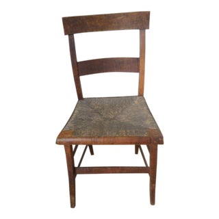 C. 1800 Primitive American Tiger Maple Rush Chair For Sale