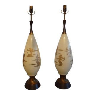 1960's Hollywood Regency Gerald Thurston Style Abstract Design Lamps-Pair For Sale