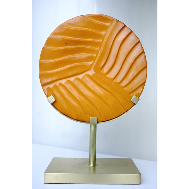 Carved Cascade Disc on Brass Stand - Image 2 of 3