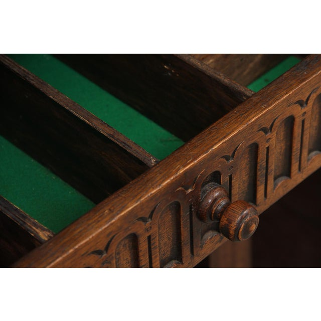 Metal Antique Carved Oak English Server For Sale - Image 7 of 9