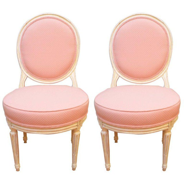 Louis XVI Style Painted Boudoir Chairs Newly Upholsted in a Pink Fabric - a Pair For Sale - Image 9 of 9