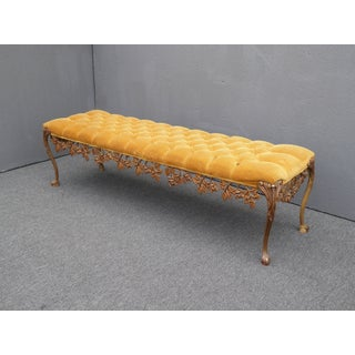 1950s Vintage Hollywood Regency Scrolled Skirt Tufted Gold Bench French Provincial Preview