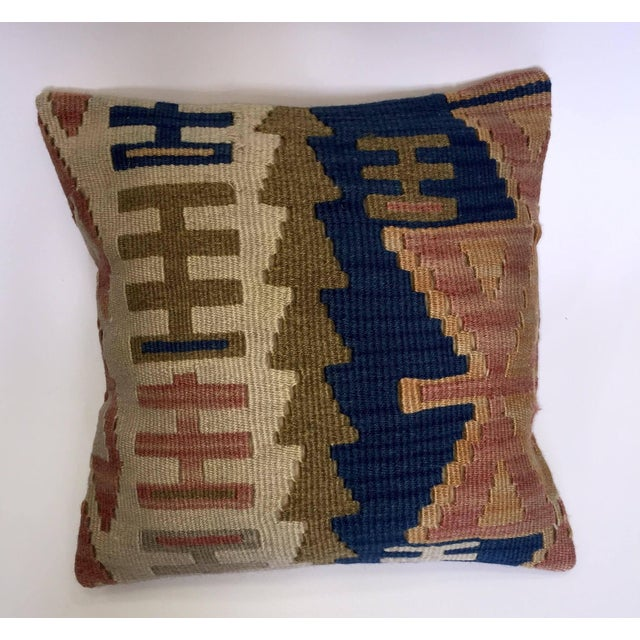 Blue & Brown Handmade Turkish Kilim Pillow Cover - Image 2 of 5