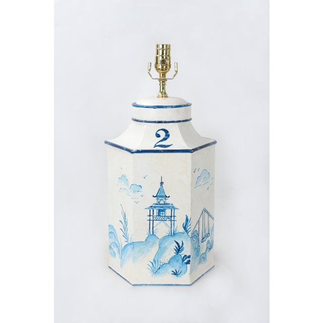 """Metal Vintage English Export Chinoiserie Blue & White Tole Hexagon Tea Caddy Lamp """"#2"""" For Sale - Image 7 of 7"""