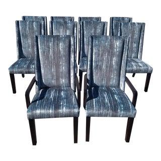 Kravet Upholstered Blue & Gray Chairs - Set of 10