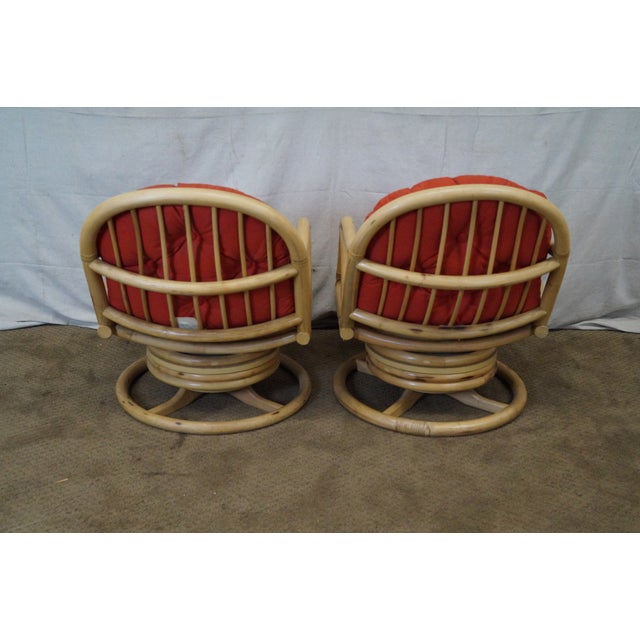 Clark Casual Bamboo Swivel Lounge Chairs - Pair - Image 4 of 10