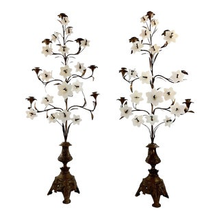Antique French Brass 7 Arm Floor Candelabras With Milk Glass Lilly Flowers - a Pair For Sale