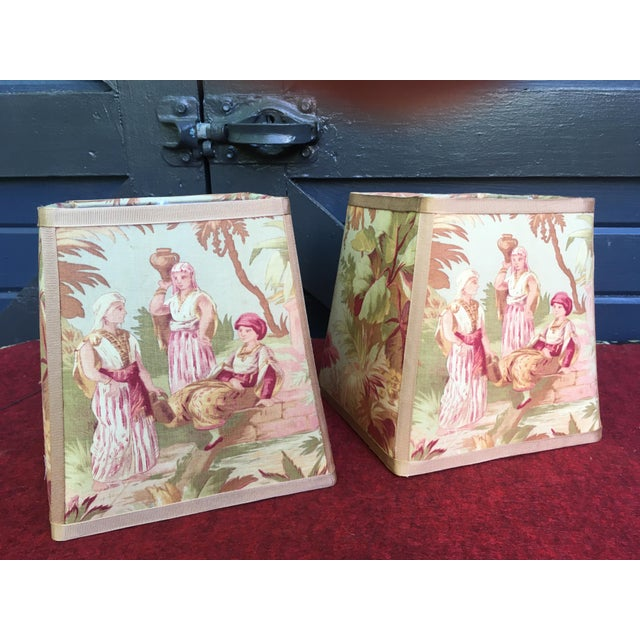 Newly Made Antique French Scene Fabric Lampshades - a Pair For Sale In Philadelphia - Image 6 of 6