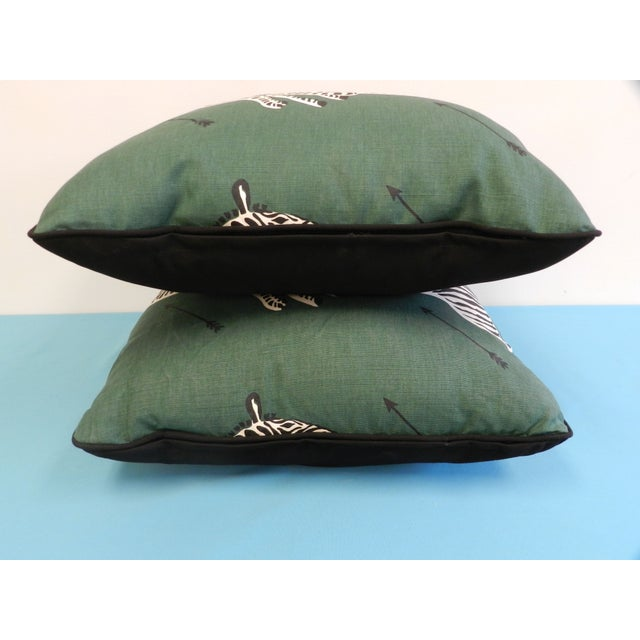 Scalamandre Green Jumping Zebra Pillows - A Pair For Sale In Atlanta - Image 6 of 6