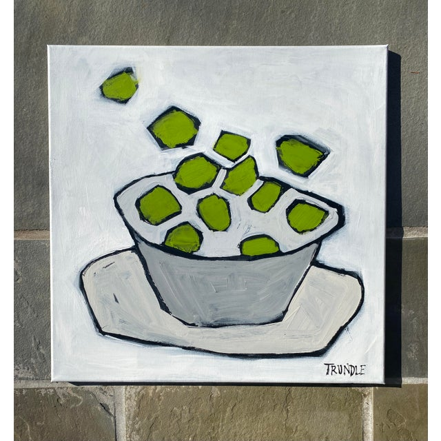 Bold, colorful, playful composition of limes in a bowl. 24 x 24 x .75. Edges painted white, back wired, ready to hang.