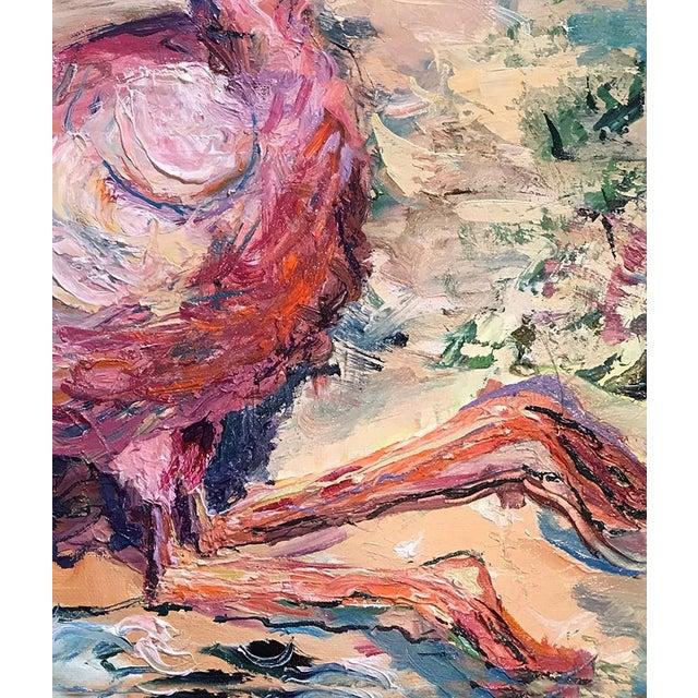 Illustration Flamingo Original Oil Painting by Nancy T. Van Ness, Framed For Sale - Image 3 of 8