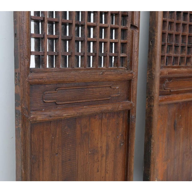 Asian Chinese Mirrored Doors - a Pair For Sale - Image 3 of 4