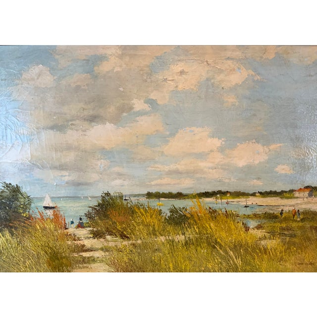 A serene image of the French seaside. This very pleasing oil painting has a complementary mat and lovely gilt accented...