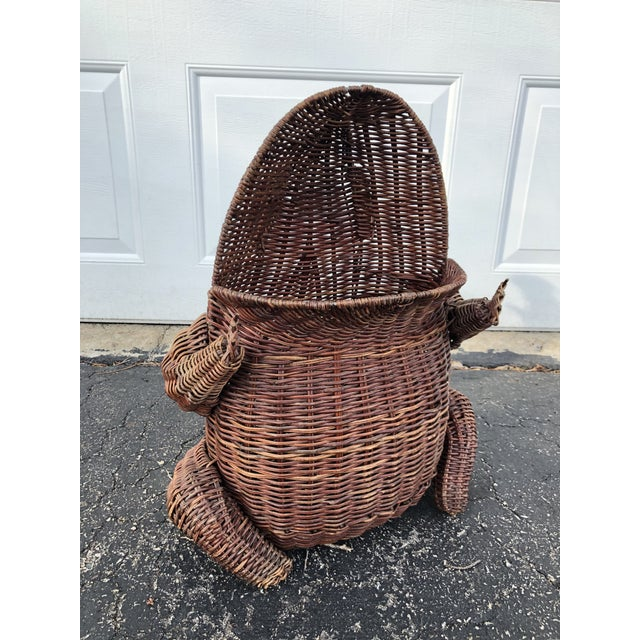 Wicker 1970s Boho Chic Wicker Wide Mouth Frog Basket For Sale - Image 7 of 10