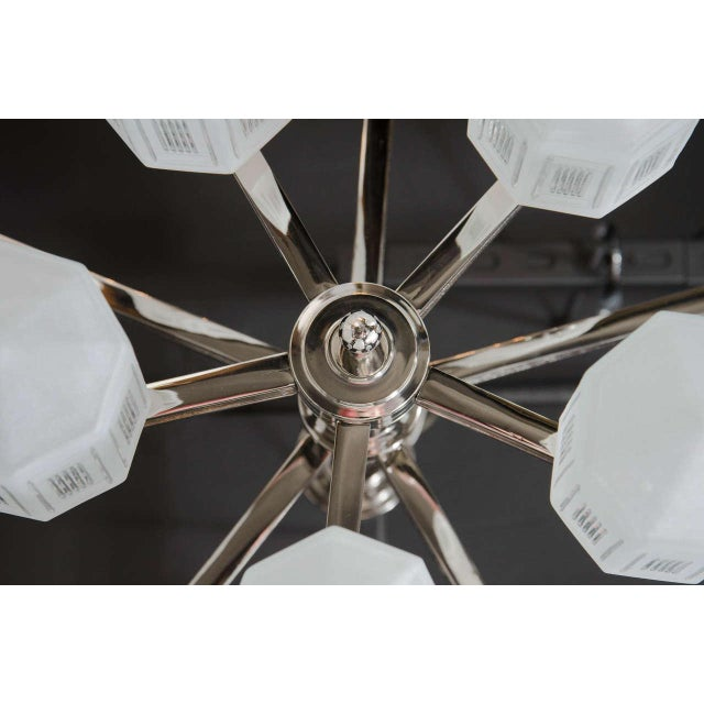 Silver Magnificent Art Deco Style Ten-Arm, Nine-Globe Chandelier in Polished Nickel For Sale - Image 8 of 10