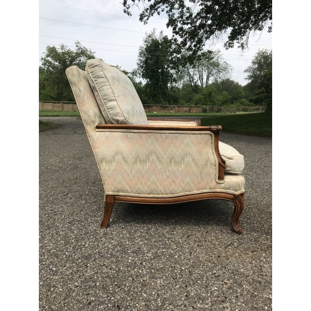 French Provincial Traditional French Provincial Lounge Chair and Ottoman For Sale - Image 3 of 9