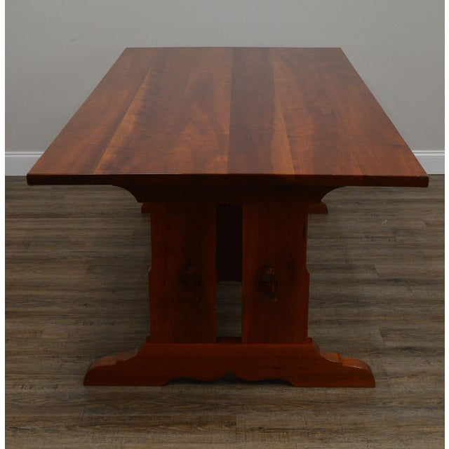Arts & Crafts Style Custom Quality Cherry Trestle Dining Table For Sale - Image 4 of 13