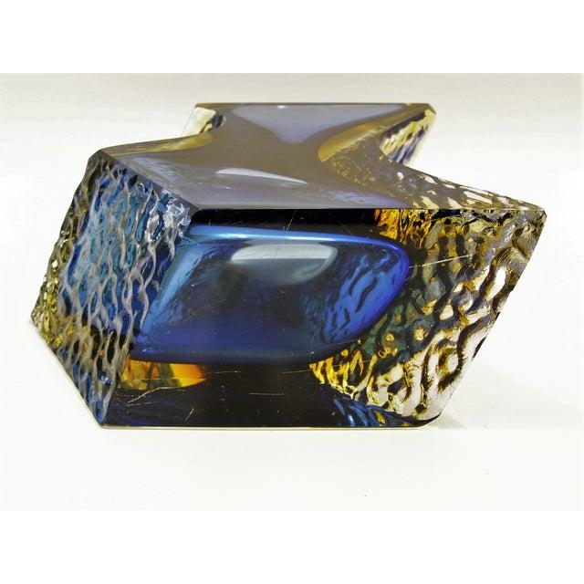 Large Italian Mandruzzato Murano Blue & Yellow Glass Sommerso Vase Mid-Century Modern MCM Campanella - Image 11 of 11