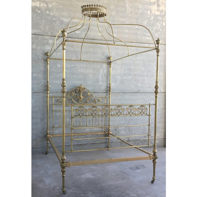 19th Wide Brass Four Poster Bed With Bird Castings, Ornamental Motifs and Crown For Sale - Image 4 of 13