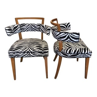 Mid Century Modern Heywood Wakefield Style Zebra Fabric Occasional Chairs - a Pair