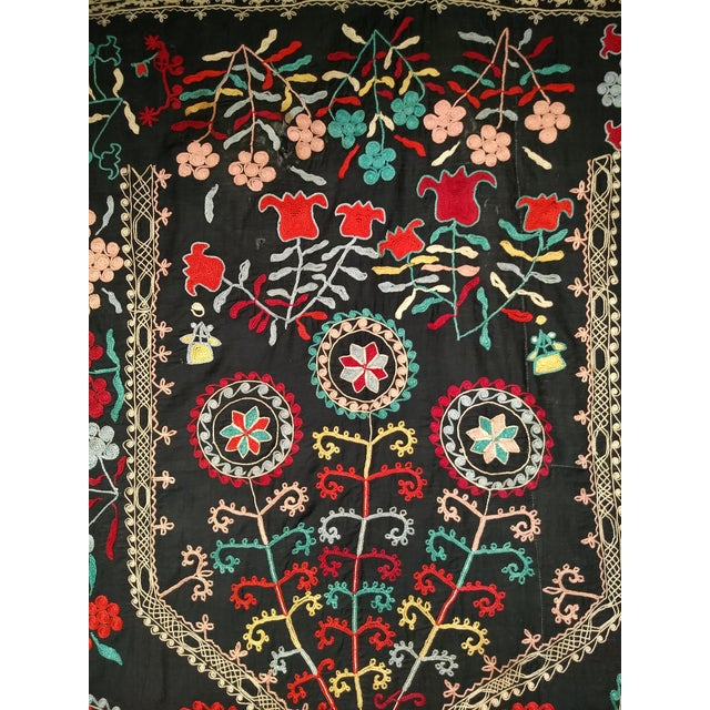 "Silk Late 1800s Hand-Stitched Suzani- 3' X 5' 3"" For Sale - Image 7 of 13"