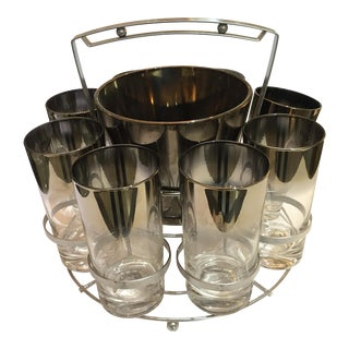 Mid-Century 1950s Carry Caddy With Ice Bucket and 8 Tall Glasses For Sale