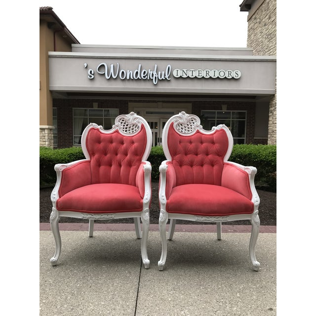 Early 20th Century French Provincial Host Carved Chairs Painted White Hollywood Regency Upholstered Velvet Tufted Fabricut Dining Chairs - a Pair For Sale - Image 9 of 9
