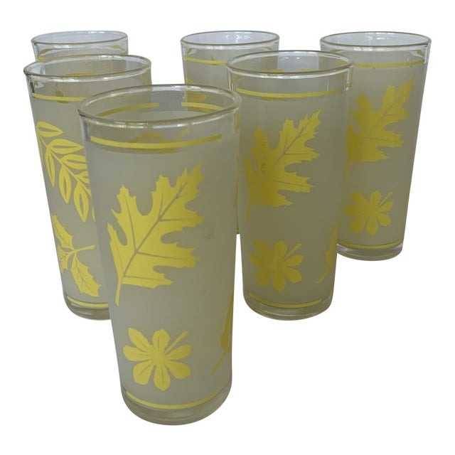 Vintage Libbey Yellow Frosted Tumbler Glasses- Set of 6 For Sale