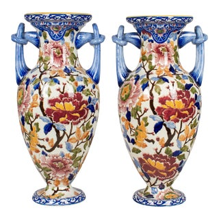 French Faience Gien Vases - a Pair For Sale