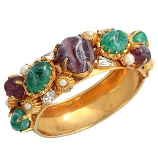 Hattie Carnegie Wide Goldtone Bangle With Large Stones For Sale