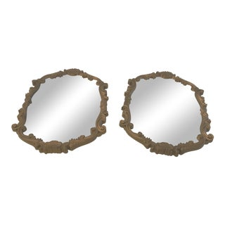Vintage Art Nouveau Gold Frame Mirrors - a Pair For Sale
