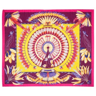 """Hermes New Cotton 59"""" Brazil Sarong Scarf With Box For Sale"""