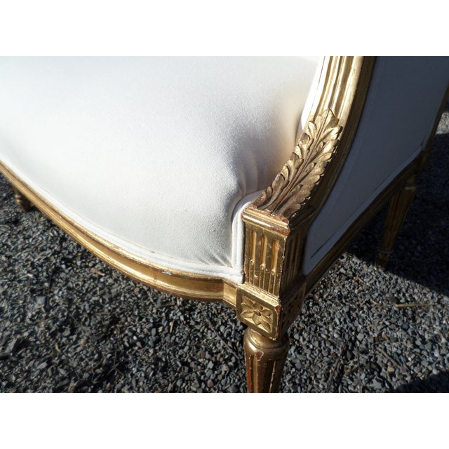 Wood Louis XVI Style Giltwood Settee For Sale - Image 7 of 13