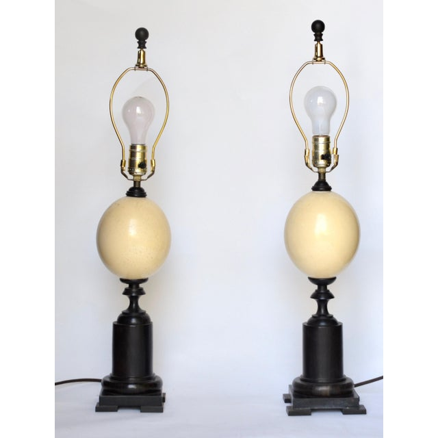Ostrich Egg and Ebony Base Lamps - a Pair For Sale - Image 4 of 8
