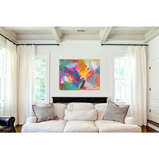 """Blue """"Here Comes the Sun"""" by Trixie Pitts Large Abstract Oil Painting For Sale - Image 8 of 11"""