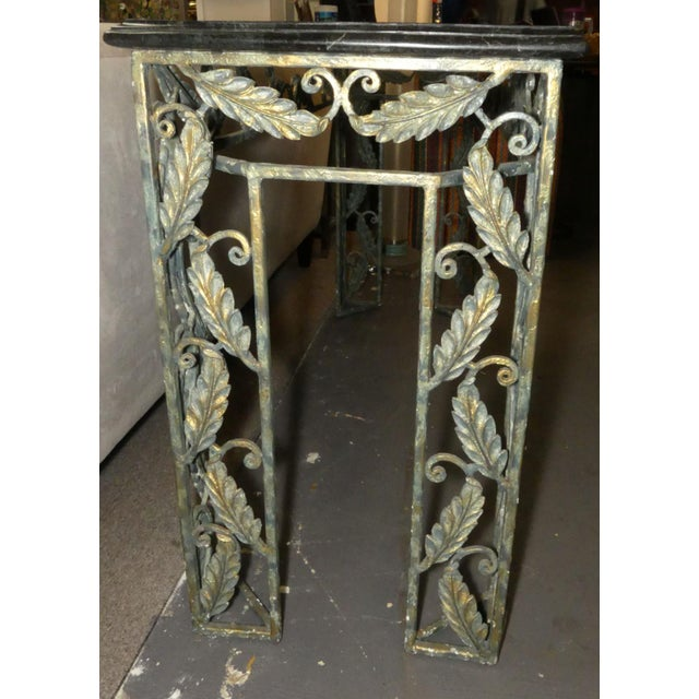 Maitland - Smith Traditional Maitland Smith Marble Top Iron Console Table For Sale - Image 4 of 13