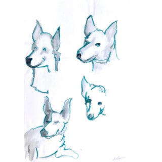 """""""Dog Portraits"""" Contemporary Abstract Figurative Drawing by Martha Holden For Sale"""