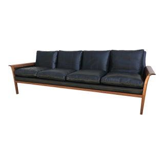 Vintage 1960's Hans Olsen for Vatne Mobler Teak and Black Leather Sofa For Sale