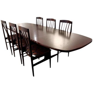 1960s Scandinavian Rose Mahogany Finish Teak Dining Set For Sale
