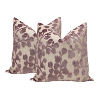 "22"" Smokey Lavender Blossom Cut Velvet Pillows - a Pair For Sale"