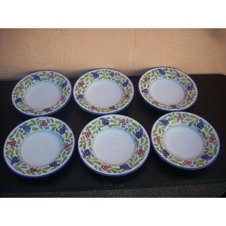 Late 20th Century Deruta Grape Motif Soup or Salad Bowls - Set of 6 Preview