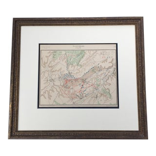 French Waterloo Military Map Lithograph For Sale