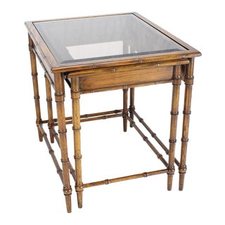 Set of Nesting Faux Bamboo Smoked Glass Top End or Side Tables For Sale