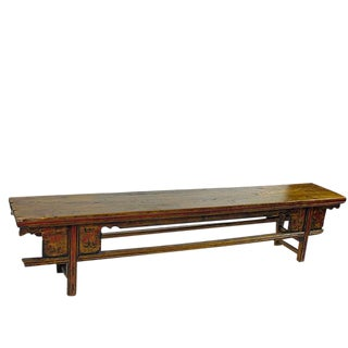 Low Wood Bench Console Table For Sale