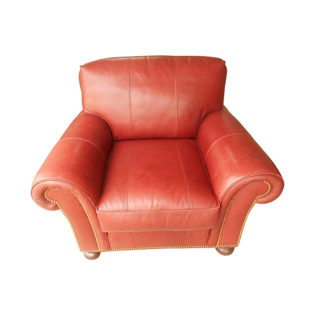 Whittemore-Sherrill Red Leather Lounge Chair - Image 1 of 6