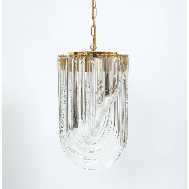 Venini Curved Crystal Glass Gilt Brass Chandelier For Sale - Image 9 of 9