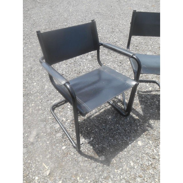 Vintage Mid-Century Modern Black Leather Sling Dining Chairs - Set of 4 For Sale - Image 6 of 8